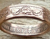 1916 Canadian Large Cent Copper Coin Ring in a size 9. - coinringman