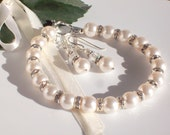 Swarovski Pearl, Bracelet, Earrings, Sterling Silver, Wedding, Classic, Bride, Bridesmaids