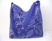 Tote Purse royal blue and white with leaf cross body bag free shipping