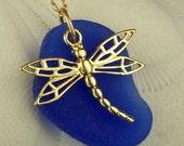 Dragonfly Sea Glass Necklace In Cobalt Blue 14 Karat Gold