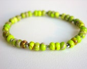 Neon Green Yellow Chartreuse Jasper Bracelet with Silver Metallic Crystals MED - mosaichick