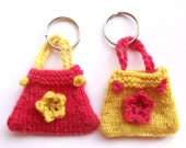 Knitted Bag Keyring Keychain Knit Purse Key Chain Crochet Flower in Pink or Yellow