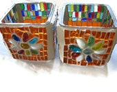 Candle holders Glass Mosaic Pair -FREE SHIPMENT - Margalita