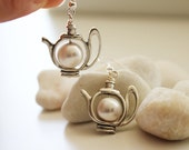 Have a Tea Earrings. Silver Teapot  with Swarovski Pearl. Snow White (ER-35) - PolliniAtelier