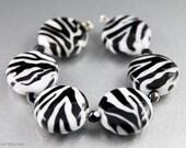 SINGLE Zebra Stripe Lampwork Bead, Slim Lentil, Animal Print, Black and White, Lori Bergmann, Handmade SRA - LoriBergmann