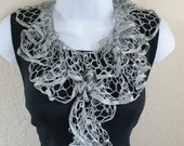 Ruffle scarf handmade  crochet lace and soft silver grey scarf or belt for spring and summer