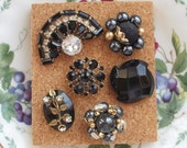 Elegant Black and Gold Vintage Jewelry Thumbtacks / Push Pins