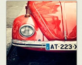 Car Photograph - Vintage Bug - Montmartre Paris Print -   Paris decor, tomato red, crimson, Paris Wall Art - Rouge - TraceyCapone