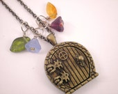 "Fairy Door Locket ""Add A Bead"" Pendant Necklace Secret Garden Door ""Hobbit Door"" Faerie Door Wish Prayer Charm With Czech Glass Beads - GreenwayTerrace"