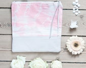 FIORE hand dyed cotton and leather pouch- Coral and nude pouch - StillWithYou