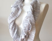 Unisex Infinity scarf loop circle striped organic soft cotton delicate pinstripes in dove blue, spring fashion, great texture gathered - TheScarfBoutique