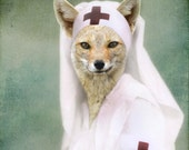 Teal Green and White Fox Art Print, Nurse Foxy, Altered Vintage Photo - frighten