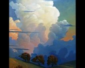 Impressionist Art Oil Landscape Glorious Clouds Parrish style Original Plein air artist Painting