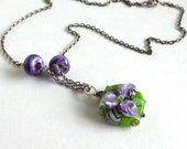Handmade Lampwork Necklace, Purple Flower Lampwork on Sterling Silver, Aida - sandcastlejewels