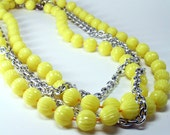 Vintage Lemon Yellow Bead Necklace - GimmeGimmeShop