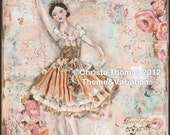 "Ballerina Efface,  8x10"" Print of original mixed media art - ThemeAndVariations"