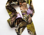 Vintage Silk Belt Head Band Boho Hippie Abstract Purple Brown Green - CinfulOldies