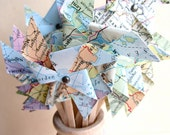 Vintage Map Pinwheels, vintage wedding, 24 two inch pinwheels, unique place card, cupcake toppers, shabby chic, travel theme - MagpieandMax