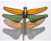 Stained Glass DRAGONFLY Suncatcher, Amber & Sage Green Textured Wings, Handcast Metal Body, USA Handmade - stainedglasswhimsy