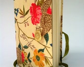 Handmade  Notebook / Journal / Diary  Designed with Colorful floral fabric, gold lace button and opens with a green satin ribbon - Newleafjournals