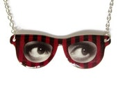 Red Eyeglass Necklace Eye Frame Pendant Black Stripes Custom - TheSpangledMaker
