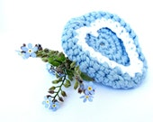 Heart Brooch Blue Crochet / Forget-me-not Heart Crochet Pin - LikeFreja
