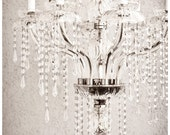 hollywood glamour, 24 x 36 black and white fine art photograph, crystal chandelier, dramatic, bling, glam, affordable home decor - enframephotography