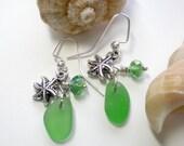 Green Sea Glass Charm Earrings - SurfSeaGlass