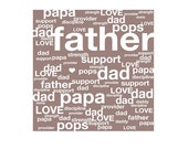 FATHER // DAD // PAPA - tag cloud - typographic design - brown white