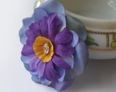 Floral Pin Accessory - Blue and Purple Flowers with Vintage Rhinestone - FastCrawl