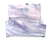 business card holder, stained glass, art glass, pink, purple, white, silver