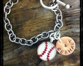 Baseball Mom Custom Hand Stamped Charm Bracelet - mygoodie2shoes