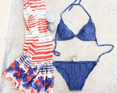 Crochet Bikini Sexy Blue Swimsuit, READY TO SHIP size M - creaspir