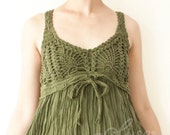 Cotton Crochet Dress in Dark Green