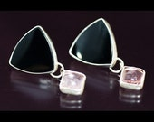 Silver Earrings with Onyx with Pink Tourmaline Gemstones