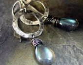 Labradorite Dangle Earrings Sterling Silver Rustic - Tears in the Mist