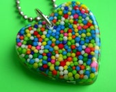 Resin Heart Sprinkles Necklace -  Springtime Sprinkles
