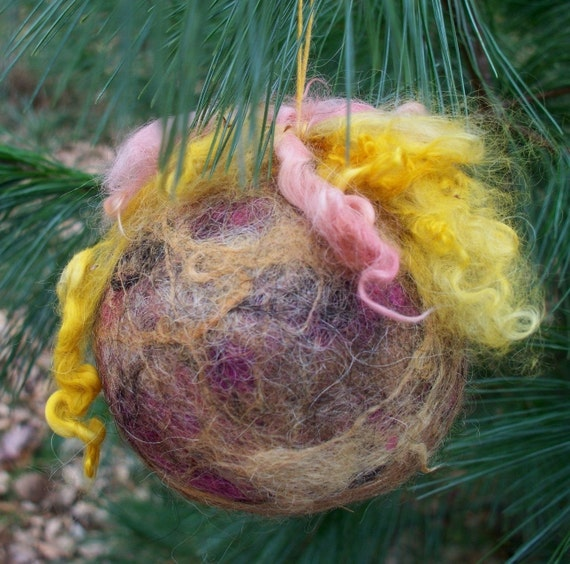 Felted Alpaca Ball Ornament