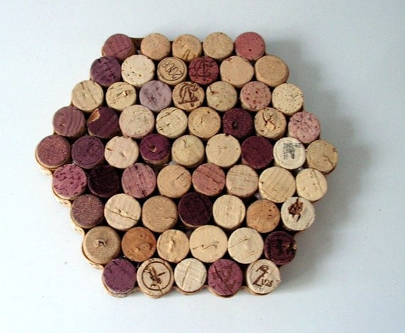 Upcycled Trivet made from Wine Corks with Polka Dot Ribbon Edge