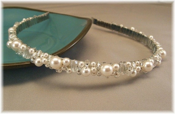 Wedding Hair Accessories, White Pearl and Crystal Tiara  by Handwired