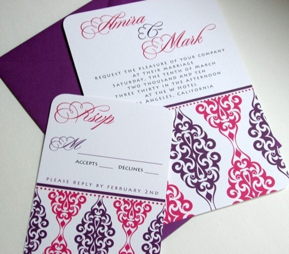 Indian Wedding Invitations Amira Purple and Pink Sample From tuccipaperco