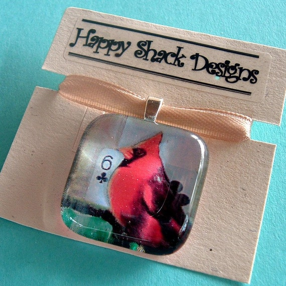 Bird Bop No. 1 Glass Tile Pendant by Happy Shack Designs - Black Friday Etsy - Cyber Monday Etsy - TURKEY20 coupon code