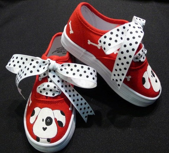 Hand Painted Girl's Dalmatian Canvas Lace Up Shoes