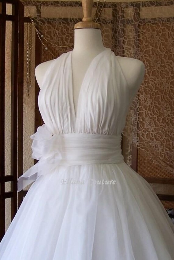 Retro Inspired Tea Length Wedding Dress Vintage Style Bridal Gown
