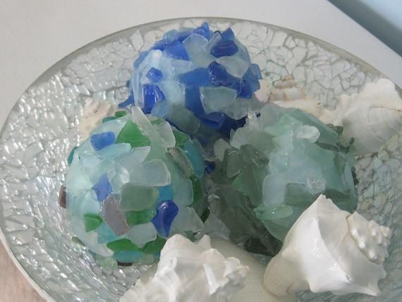 Море стеклянные шары - Пляж Пляж Декор стекла декоративные шары в синий, зеленый Набор из 3