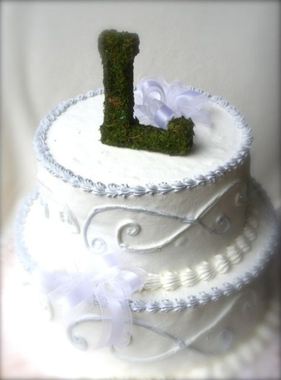 Moss covered 6 inch letter initial Wedding Cake Topper From SpottedLeopard