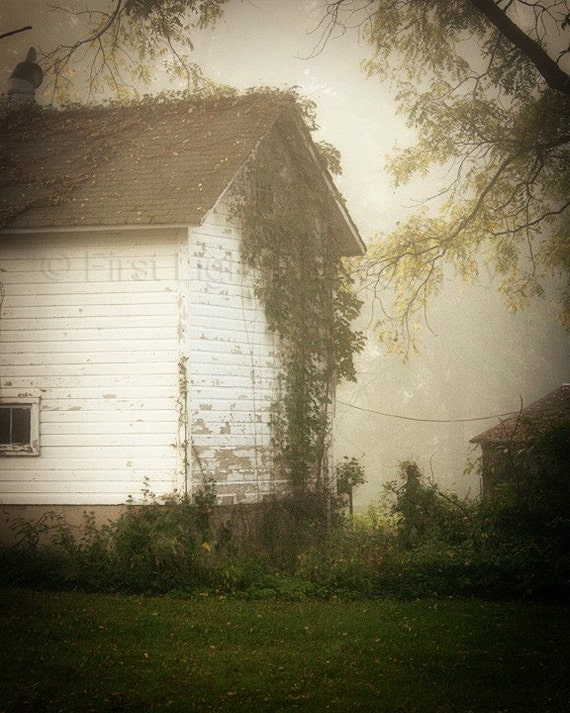 Barn Photograph - country quiet peaceful foggy dreamy simple - Country Barn