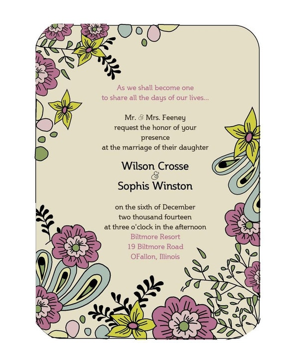 Ivory or White Floral Wedding Invitation Set with inserts