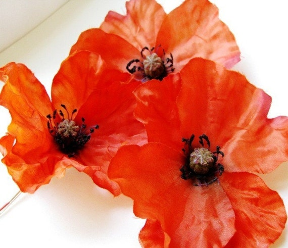 Poppy Flirtation - Fiery Orange/Red Poppy Hair Pin or Clip
