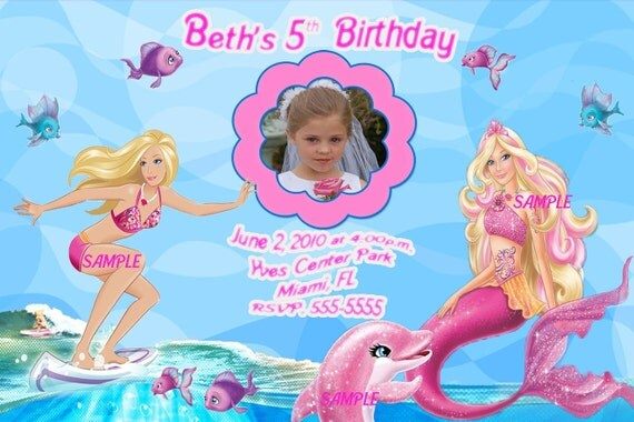 Barbie Mermaid Tale Custom Photo Birthday Invitations